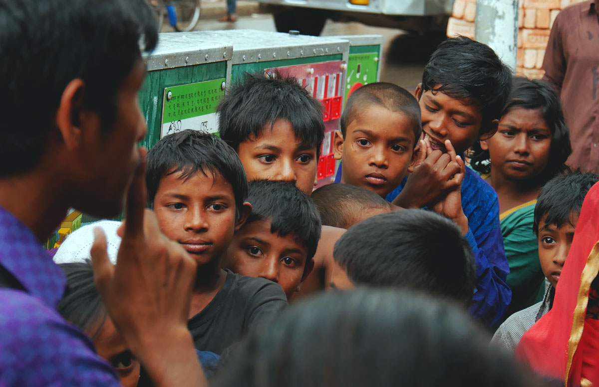 In our Mobile School we teach street children the basics in math, english and bangla.